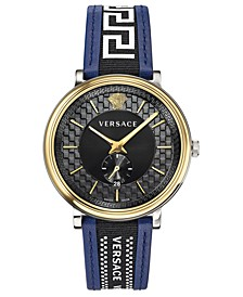 Men's Swiss V Circle Greca Edition Blue Leather Strap Watch 42mm