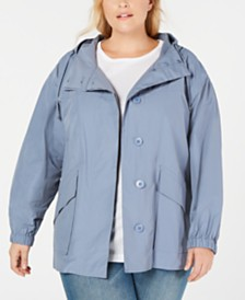 Eileen Fisher Plus Size Hooded Shirttail Coat