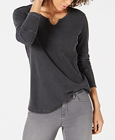 Split-Neck Cotton Thermal Top, Created for Macy's