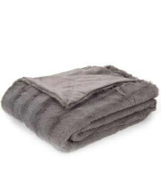 Free decor item and bebe white reversible fur throw blanket