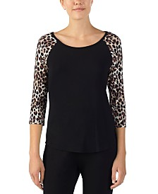 Betsey Johnson Heart Cut Out Knit Pajama Top