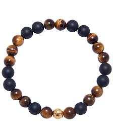 Nialaya Men's Wristband with Matte Onyx and Brown Tiger Eye