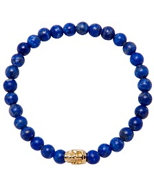 Nialaya Men's Wristband with Blue Lapis and Gold Skull