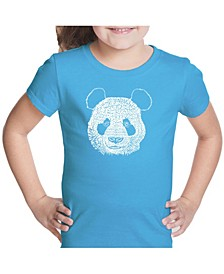 Girl's Word Art T-Shirt - Panda