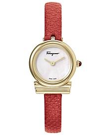 Women's Swiss Gancino Red Karung Leather Strap Watch 22mm