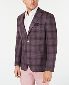 Men's Slim-Fit Gray/Pink Plaid Sport Coat