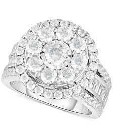 TruMiracle™ Diamond Halo Cluster Engagement Ring (3 ct. t.w.) in 10k White Gold