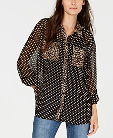 I.N.C. Dot and Leopard Print Button-Up Shirt, Created for Macy's