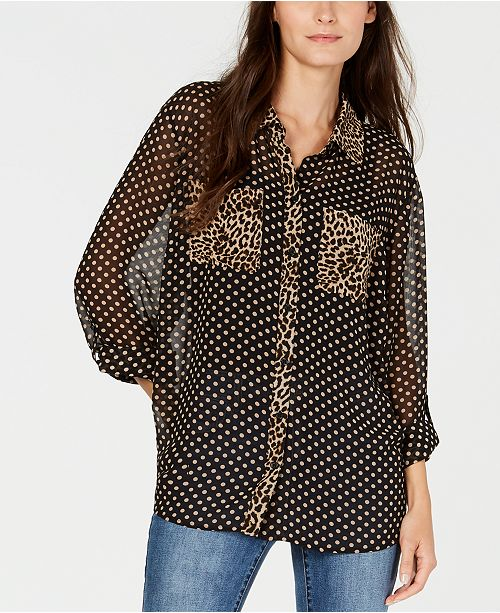 INC International Concepts INC Petite Dot-Print Button-Front Shirt, Created for Macy's