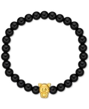 "Chalcedony Bead Bracelet With 24k Gold ""Piggy"" Charm"
