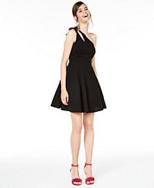 Juniors' One-Shoulder Fit & Flare Dress