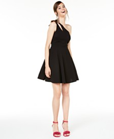 City Studios Juniors' One-Shoulder Fit & Flare Dress
