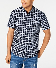 Men's Grid Print Short Sleeve Shirt