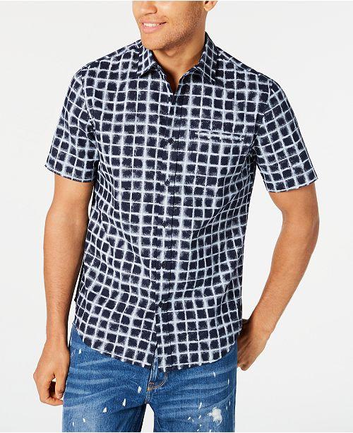 Sean John Men's Grid Print Short Sleeve Shirt