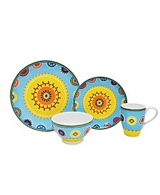 222 Fifth Caracas Blue 16 Piece Porcelain Dinnerware Set