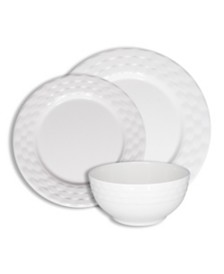 222 Fifth Basket Weave White 12 Pc Melamine Dinnerware Set