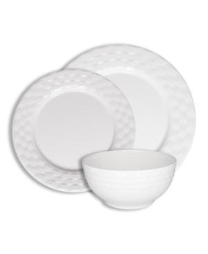 222 Fifth Basket Weave White 12 Pc Melamine Dinnerware Set