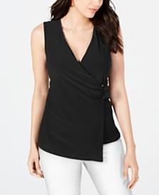 Alfani Asymmetrical Wrap Top, Created for Macy's