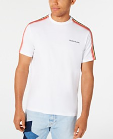 Calvin Klein Jeans Men's Sleeve-Stripe Logo Graphic T-Shirt