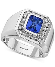 EFFY® Men's Tanzanite (2-1/10 ct. t.w.) & Diamond (3/4 ct. t.w.) Ring in 14k White Gold