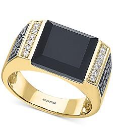 EFFY® Men's Black Agate & Diamond (5/8 ct. t.w.) Ring in 14k Gold