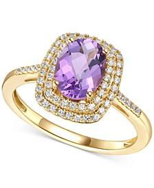 Amethyst (1-1/4 ct. t.w.) & Diamond (1/4 ct. t.w.) Ring in 14k Gold