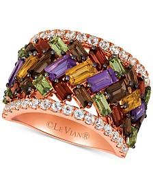 Le Vian® Multi-Gemstone Rainbow Baguette Frenzy Statement Ring (4-3/4 ct. t.w.) in 14k Rose Gold