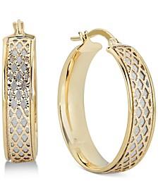 Lattice-Design Hoop Earrings in 14k White Gold and 14k Gold