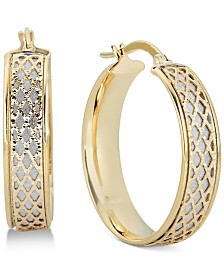 Italian Gold Lattice-Design Hoop Earrings in 14k White Gold and 14k Gold