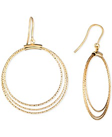 Textured Multi-Circle Drop Earrings in 14k Gold-Plated Sterling Silver