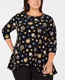 Anne Klein Plus Size Printed 3/4-Sleeve High-Low Top