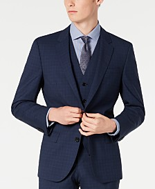 HUGO Hugo Boss Men's Slim-Fit Dark Blue Micro-Check Suit Jacket