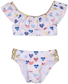 Jessica Simpson Big Girls 2-Pc. Foil Heart Bikini Set