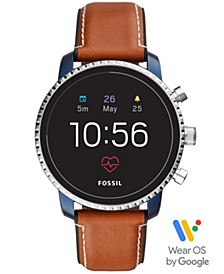 Men's Tech Explorist Gen 4 HR Brown Leather Strap Touchscreen Smart Watch 45mm, Powered by Wear OS by Google™