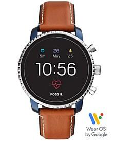 Men's Tech Explorist Gen 4 HR Brown Leather Strap Touchscreen Smart Watch 45mm, Powered by Wear OS by Google™