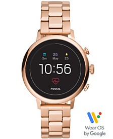 Fossil New Q Women's Gen 4 Venture HR Rose Gold-Tone Stainless Steel Bracelet Touchscreen Smart Watch 40mm, Powered by Wear OS by Google™