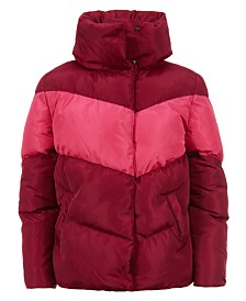 Calvin Klein Big Girls Colorblock Puffer Jacket