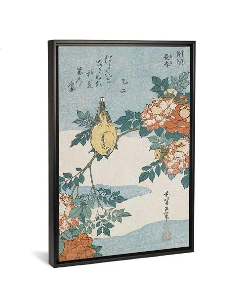 "iCanvas Black-Naped Oriole and China Rose, C.1833 by Katsushika Hokusai Gallery-Wrapped Canvas Print - 40"" x 26"" x 0.75"""