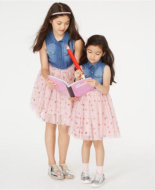 Rare Editions Toddler, Little & Big Girls Denim & Star-Print Mesh Dress& Kenneth Cole Shoes