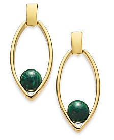 Alfani Gold-Tone & Green Malachite Stone Open Drop Earrings, Created for Macy's