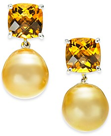 Cultured Golden South Sea Pearl (12mm) & Citrine (5-5/8 ct. t.w.) Drop Earrings in Sterling Silver