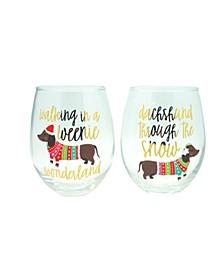 """Weeniewonderland"" Set of 2, 22oz Stemless Wine Glasses"
