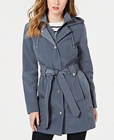 Front-Zip Hooded Trench Coat