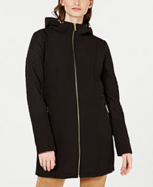 Michael Michael Kors Front Zip Hooded Raincoat, Created for Macy's