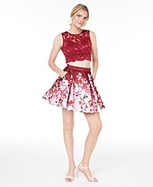 Juniors' 2-Pc. Lace Floral-Print Fit & Flare Dress