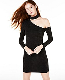 Juniors' Glitter One-Shoulder Bodycon Dress
