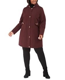 Via Spiga Plus Size Raincoat with Leopard-Print Hood, Created For Macy's