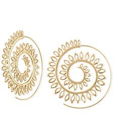 "Large Gold-Tone Open Leaf Spiral Hoop Earrings 2-1/4"""