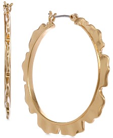 Laundry by Shelli Segal Medium Gold-Tone Ruffled Hoop Earrings 1-1/4""