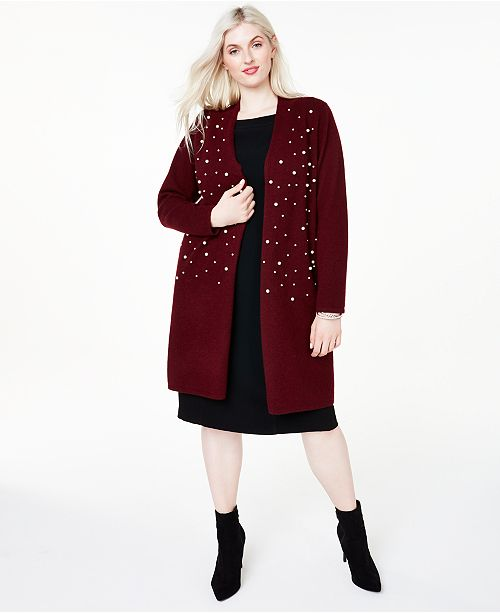 Charter Club Plus Size Cashmere Beaded Duster Cardigan, Created for Macy's